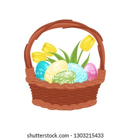 Brown wicker basket full of painted eggs and tulip flowers. Cute Easter composition. Spring holiday. Flat vector icon