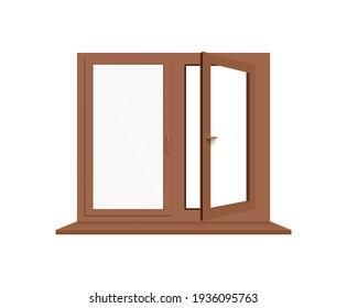 Brown window frame with one half open. Wooden window pane