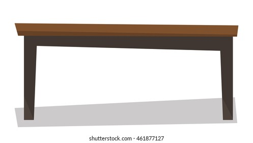 Brown wood coffee table vector flat design illustration isolated on white background.