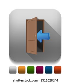 Brown wood door and arrow icon With long shadow over app button