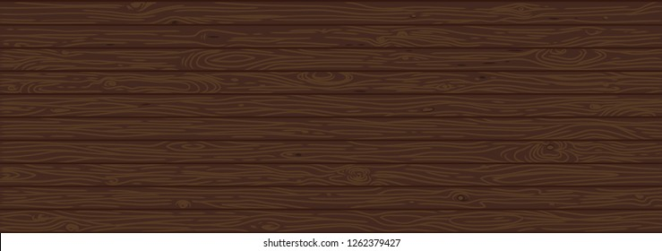 Brown wooden background. Old weathered wood surface with long boards lined up vector illustration. Wooden planks on a wall or floor with grain and texture. Dark tones. Washed painted texture