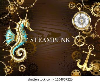 Brown wooden background with sea, mechanical ridge, an antique steering wheel,  golden anchor and various gold and brass gears. Steampunk style.