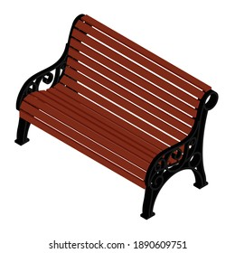 Brown wooden bench with a decorative ornate metal legs and armrests, isolated on a white background. Isometric view. Vector