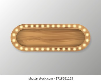 Brown wooden board with light bulbs on a wall. Vector stock illustration for card