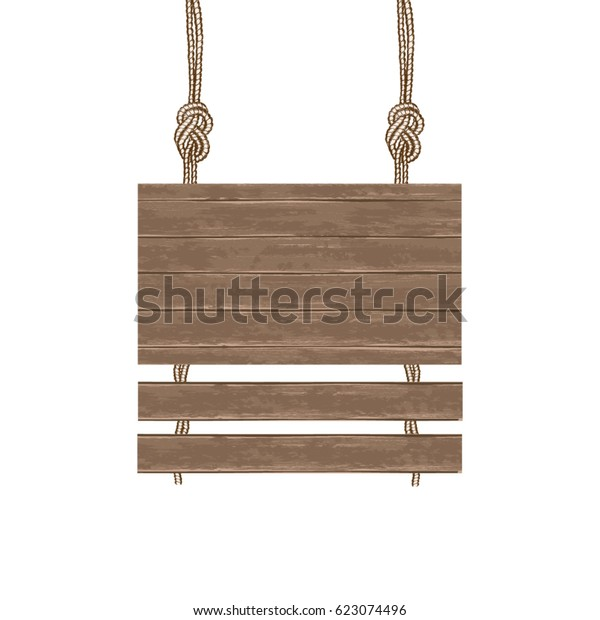 Brown Wooden Boards Advertising Suspended On Stock Vector Royalty