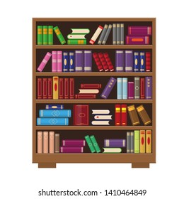Brown wooden bookcase with colorful books. Education or bookstore concept.