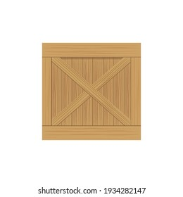Brown wooden box icon, on the white background.