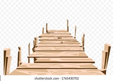 Brown wooden bridge isolate vector