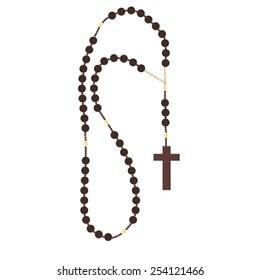 Brown wooden catholic rosary beads, religious symbols,rosary necklace, praying symbol, beaded rosary