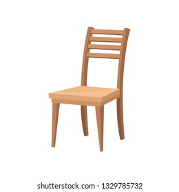 Brown wooden chair with backrest and soft beige seat. Furniture for dining room. Flat vector design