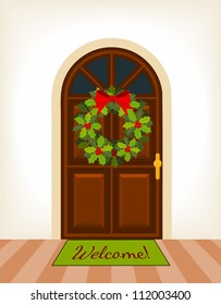 brown wooden door with christmas holy wreath - vector illustration
