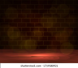 Brown wooden floor with brick wall. Vector stock illustration for card