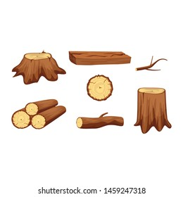 Brown Wooden Trunk Materials Set Parts Elements for Wood Industry. Vector illustration of Chopped Firewood and Natural Timber