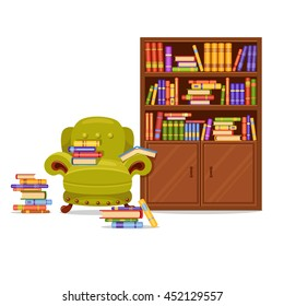 A brown wooden vector bookcase and a green armchair with many books. Home library. Love reading. Cute interior illustration. Cartoon furniture