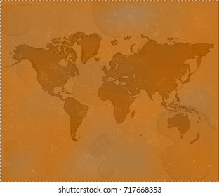 Brown world map isolated. Grunge old background. Textured vector illustration.