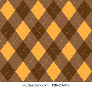 Brown and Yellow Argyle Seamless Pattern