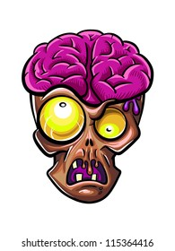 Brown zombie with violet brains outside of the head. Halloween character