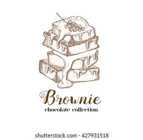 Brownie illustration.Chocolate cake.Vector illustration sketch of dessert. Icon of hand drawn cakes. Fresh organic food. Cafe menu,bakery logo.