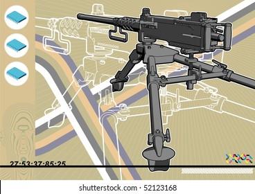 Browning machine gun schematic design template.