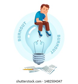 Brownout, frustration, loss of sense of purpose at work concept. Sad depressed creative profession worker or inventor sitting on unlit powered off idea light bulb. Flat vector character illustration