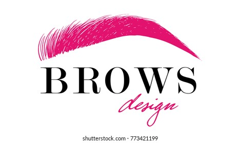 Brows design logo business card template. Beautiful pink hand drawing eyebrow for the logo of the master on the eyebrows. Business card template.