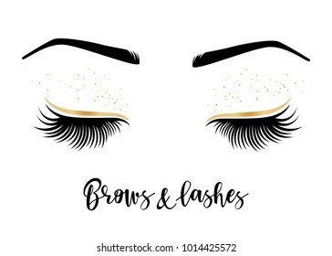 Brows and lashes lettering. Vector illustration of lashes and brows. For beauty salon, lash extensions maker, brow master.