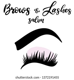 7d1697f5b08 Brows and lashes lettering vector illustration for beauty salon, fashion  blog, logo, false