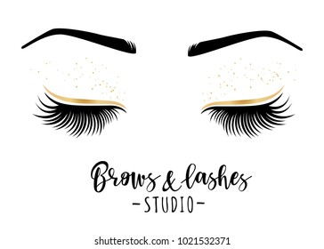 3575ecf8012 Brows and lashes studio. Vector illustration of lashes and brows. For  beauty salon,