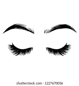 Brows and lashes vector illustration. Beautiful Eyelashes. For beauty salon, lash extensions maker, brow master. Close eyes.