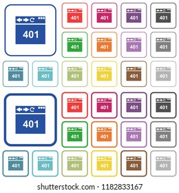 Browser 401 Unauthorized color flat icons in rounded square frames. Thin and thick versions included.