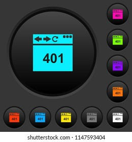 Browser 401 Unauthorized dark push buttons with vivid color icons on dark grey background