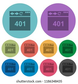Browser 401 Unauthorized darker flat icons on color round background