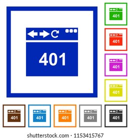 Browser 401 Unauthorized flat color icons in square frames on white background