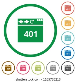 Browser 401 Unauthorized flat color icons in round outlines on white background