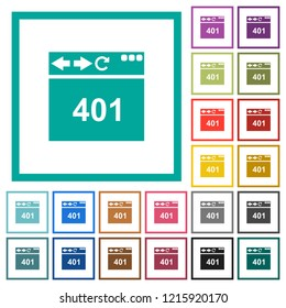 Browser 401 Unauthorized flat color icons with quadrant frames on white background