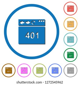 Browser 401 Unauthorized flat color vector icons with shadows in round outlines on white background