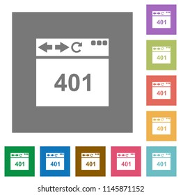 Browser 401 Unauthorized flat icons on simple color square backgrounds