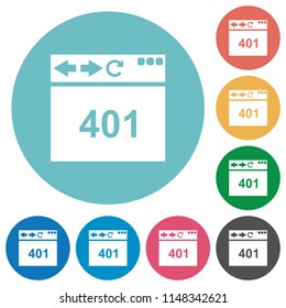 Browser 401 Unauthorized flat white icons on round color backgrounds