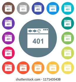 Browser 401 Unauthorized flat white icons on round color backgrounds. 17 background color variations are included.