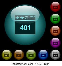 Browser 401 Unauthorized icons in color illuminated spherical glass buttons on black background. Can be used to black or dark templates