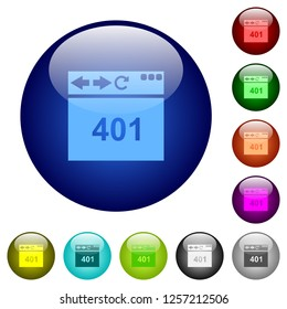 Browser 401 Unauthorized icons on round color glass buttons