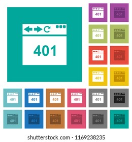 Browser 401 Unauthorized multi colored flat icons on plain square backgrounds. Included white and darker icon variations for hover or active effects.