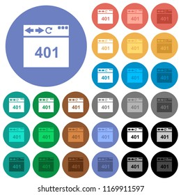 Browser 401 Unauthorized multi colored flat icons on round backgrounds. Included white, light and dark icon variations for hover and active status effects, and bonus shades.