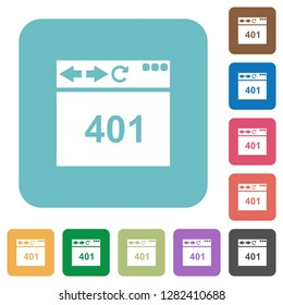 Browser 401 Unauthorized white flat icons on color rounded square backgrounds