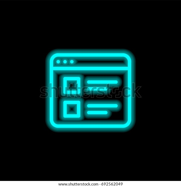 Browser blue glowing neon ui ux icon. Glowing sign logo vector