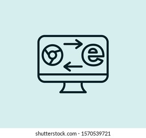 Browser compatibility icon line isolated on clean background. Browser compatibility icon concept drawing icon line in modern style. Vector illustration for your web mobile logo app UI design.