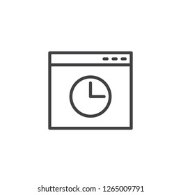 Browser history window outline icon. linear style sign for mobile concept and web design. Browser window with clock simple line vector icon. Symbol, logo illustration. Pixel perfect vector graphics