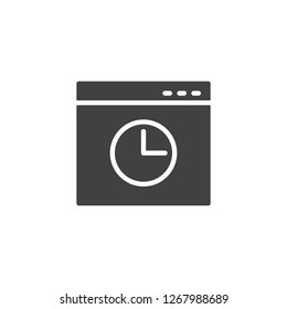 Browser history window vector icon. filled flat sign for mobile concept and web design. Browser window with clock simple solid icon. Symbol, logo illustration. Pixel perfect vector graphics