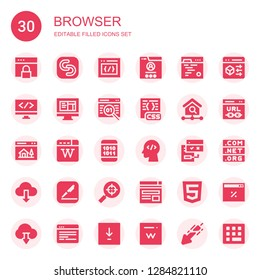 browser icon set. Collection of 30 filled browser icons included Browser, Safecopy backup, Css, Code, Coding, Html, Homepage, Wikipedia, Binary code, Browsers, Download, Pages