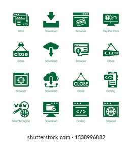 browser icons. Editable 16 browser icons. Included icons such as Html, Download, Browser, Pay per click, Close, Coding, Search engine. trendy icons for web.